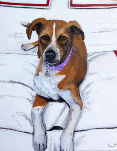 dog on white bedspread