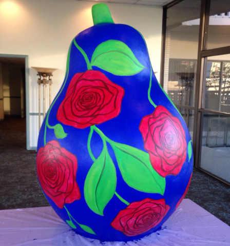 Fiberglass pear painted by Kermit Eisenhut