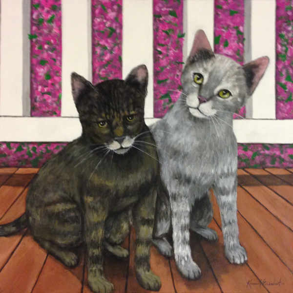 Cat Portrait - 2 adorable cats about to get into mischief