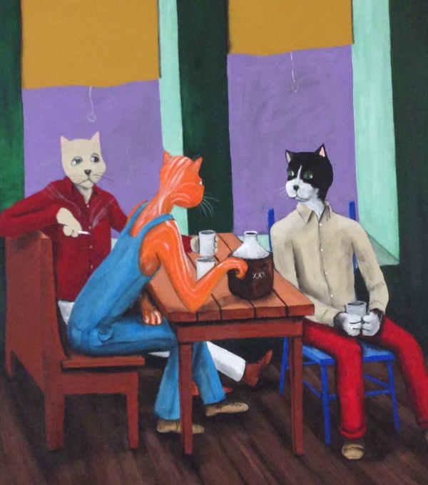3 cats drinking smoking