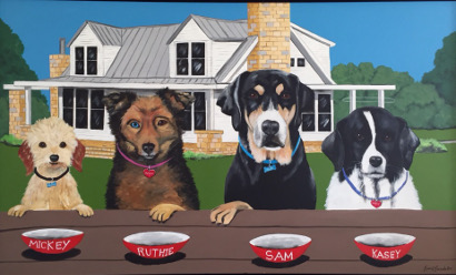 4 dogs with dinner bowls