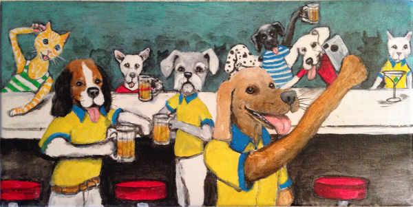 Animals drinking in bar
