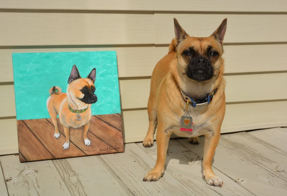 Dog with his portrait