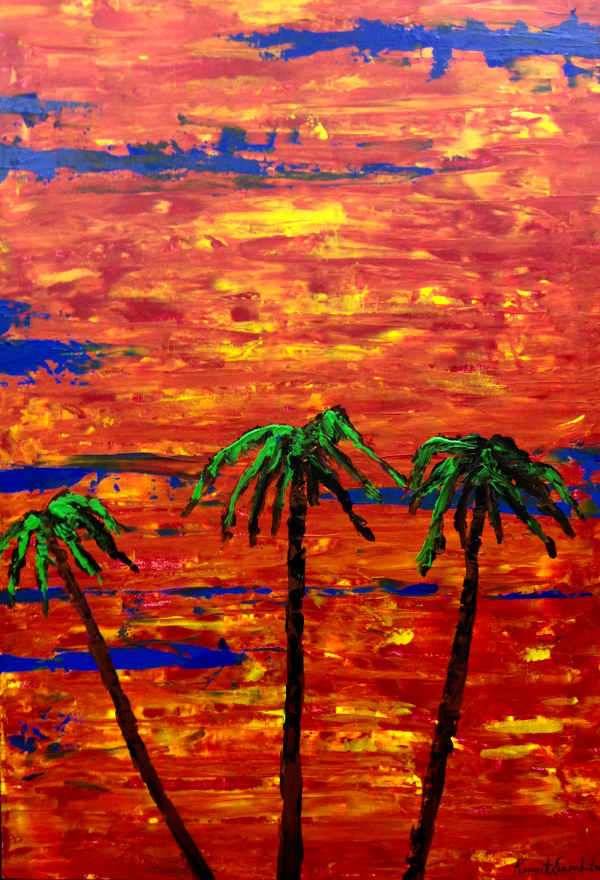Palm trees in red sunset