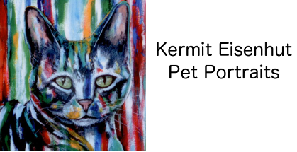 Pet Portraits, custom, hand-painted by Houstonian Kermit Eisenhut