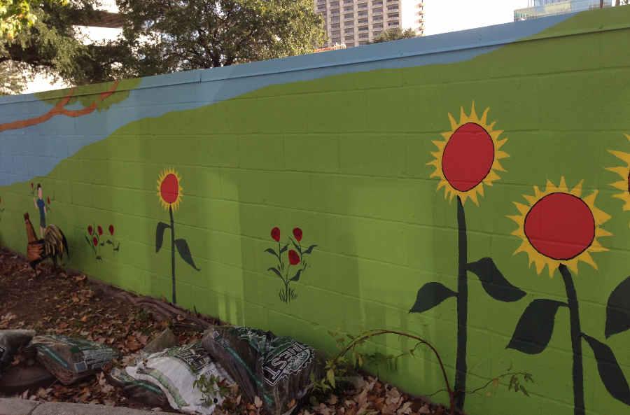 schoolyard wall close